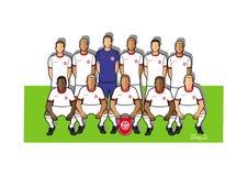 Tunesia fotbollslag 2018 Vektor Illustrationer