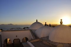 Pittoresque Mosque of Sidi Bou Said at Sunset. Tunesia: The pittoresque Mosque of Sidi Bou Said at sunset overviewing the Gulf of Tunis Royalty Free Stock Photo