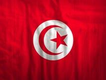 Tunesien-Flaggengewebe-Beschaffenheitsgewebe Stockfoto