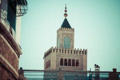 tunesien Minarett der großen Moschee (Zitouna, stockbild