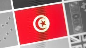 Tunesien-Staatsflagge des Landes Tunesien-Flagge auf der Anzeige, ein digitaler Wässerungseffekt lizenzfreies stockfoto