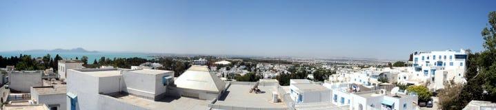Tunesisch panorama - Sidi Bou zei - Tunesië Stock Foto's