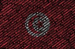Tunezja flaga przedstawia na ekranie z programa kodem Pojęcie nowożytny technologii i miejsca rozwój obrazy royalty free