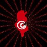 Tunezja mapy flaga na czerwonej hex kodu wybuchu ilustraci Zdjęcia Royalty Free