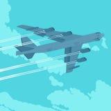 Tung bombplan i himlen Arkivfoton
