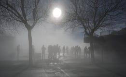 Tung dimmig morgon i Montserrat arkivfoton