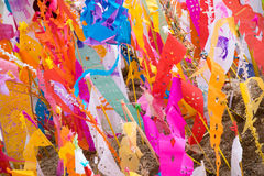 Tung (flag lanna) on the sand for songkran festival royalty free stock images