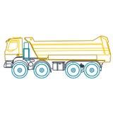 Tung lastbil för blå gul översikt på vit Arkivbild