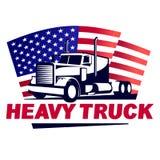 Tung lastbil med amerikanska flagganemblemet Arkivbild