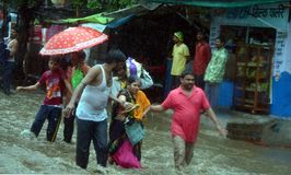 Tung nederbörd i Bhopal Arkivbild