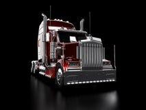 tung röd lastbil Arkivfoto