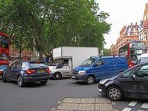 Tung trafik i centrala London Arkivbilder
