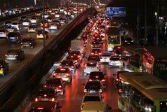 Tung trafikstockning och luftförorening för Peking Royaltyfria Foton