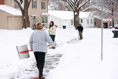 tunga grann som skyfflar snowfall royaltyfri fotografi