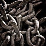 Tunga industriella anfrätta Rusty Chain Ring Grunge Arkivfoto