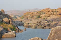 Tungabhadra river in hampi Royalty Free Stock Image