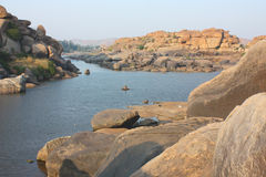 Tungabhadra river in hampi Royalty Free Stock Photo