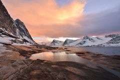 Tungeneset Beach at Sunset, Senja Island, Troms County Stock Images