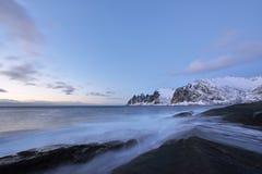 Tungeneset Beach at Sunset, Senja Island, Troms County Royalty Free Stock Image
