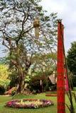 Tungs-Flagge mit großem Regenbaum und verzierten Blumen Stockfotografie