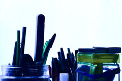 Tungsten abstract blue view pencils and ball point pens Stock Photos