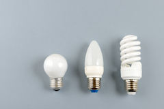 Tungsten bulb, LED bulb and  fluorescent bulb Stock Images