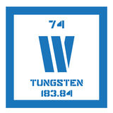 Tungsten chemical element. Tungsten, chemical element. Also known as wolfram. Colored icon with atomic number and atomic weight. Chemical element of periodic Stock Photo