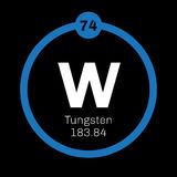 Tungsten chemical element. Tungsten, chemical element. Also known as wolfram. Colored icon with atomic number and atomic weight. Chemical element of periodic Royalty Free Stock Image