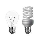 Tungsten and energy saving. Vector tungsten and energy saving lightbulb on white background Stock Photos