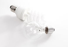 Tungsten and energy saving lightbulb Royalty Free Stock Photos