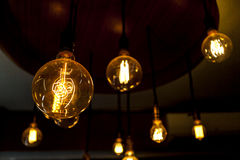 Tungsten lamps , old fashion chandelier, lightbulb Stock Photography
