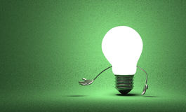 Tungsten light bulb character making inviting gesture Royalty Free Stock Photography