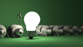 Free Tungsten Light Bulb Character Standing And Spiral Ones Lying Royalty Free Stock Images - 43519519