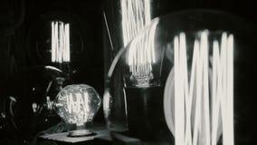 Tungsten light bulbs illuminating old research laboratory, obsolete technology