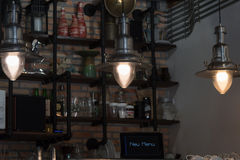 Tungsten light. In coffee shop Stock Image