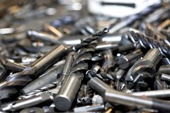 Tungsten tools. Drills covered with tungsten stock photo