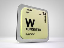 Tungsten- W - chemical element periodic table. 3d render Royalty Free Stock Photo