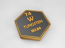 Tungsten - W - chemical element periodic table hexagonal shape. 3d render Stock Photography