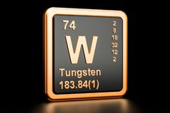 Tungsten W wolfram chemical element. 3D rendering. Tungsten W, wolfram chemical element. 3D rendering isolated on black background Royalty Free Stock Photos