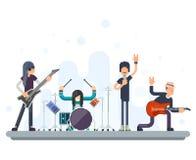 Tungt hårt vaggar för den Bassist Drummer Concept för sångaren för gitarristen för symboler för musik för Folkgruppmusikbandet il stock illustrationer