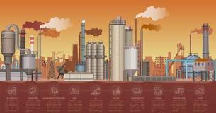 Tungt industriellt fabriksbyggnadslandskap Vektorillustration med infographic symbolsbeståndsdelar Röka rör av stock illustrationer