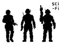 Tungt infanteri i harnesk passar med plasmageväret också vektor för coreldrawillustration stock illustrationer