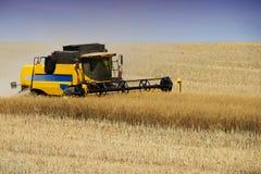 Tungt jordbruks- maskineri under skörden på bygd royaltyfria bilder
