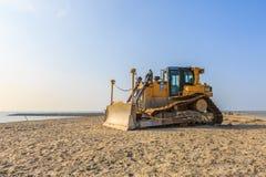 Tungt maskineri för konstruktion av markörWadden öar arkivfoton