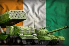 Tungt militärt pansarbilbegrepp för skjul D Ivoire på nationsflaggabakgrunden illustration 3d stock illustrationer