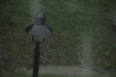 Tungt regna på trädgård och där är regn som tappas på lamppolen arkivbilder