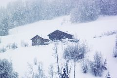 Tungt snöfall i berg av Schweiz Typiska trälantliga schweiziska hus på bergssidan och träden som täckas med snö arkivfoton
