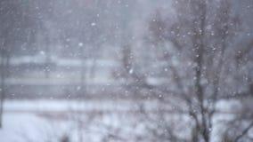 Tungt snöfall i en stad arkivfilmer