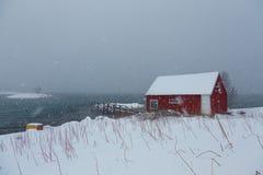 Tungt snöfall i Lofoten öar, Norge, över ett traditionellt rött hus, under en kall vinterdag royaltyfri fotografi