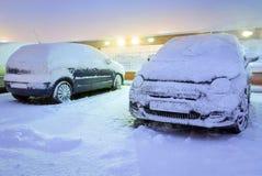 Tungt snöfall i Polen Arkivfoto